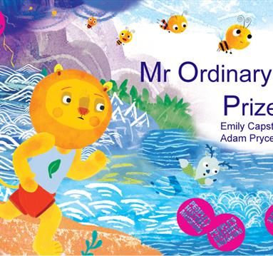 Poster: Mr Ordinary's Prize, yellow lion in shorts