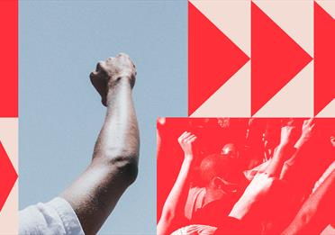 Red poster with raised fist