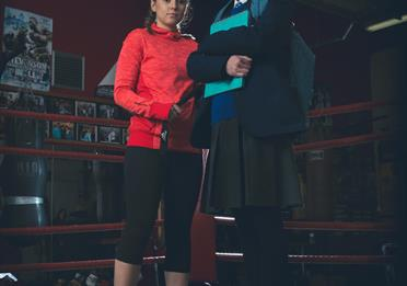 Bella Ramsey and Molly Wright in a boxing ring