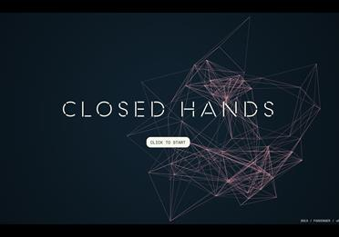 Video game screen with text: Closed Hands