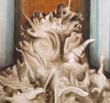 Painting by Karol Kochanowski: room and organic shapes