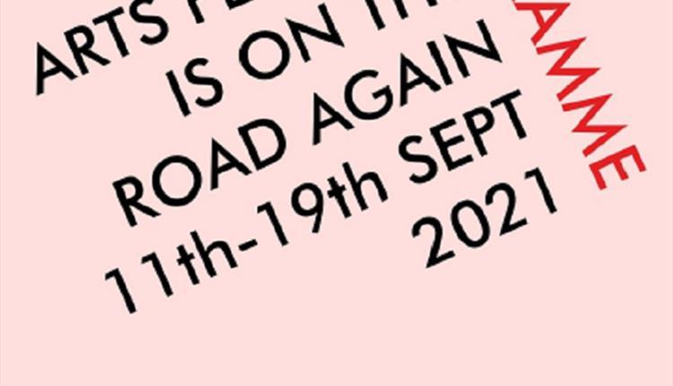 Pink poster: Chorlton Arts Festival