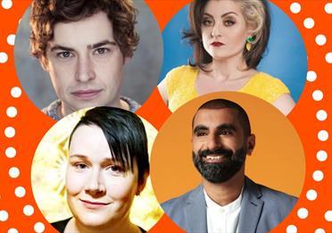 Brennan Reece, Kiri Pritchard McLean, Tez Ilyas and Bethany Black, orange frame