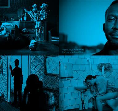 Blue collage of films stills