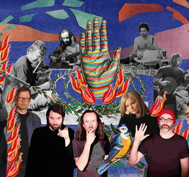 Tunng band members, bright background