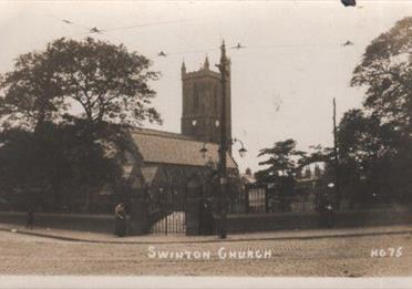 Black and white image of Swinton Church