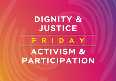 Pink poster: Dignity and Justice