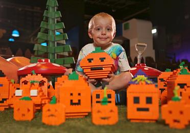Kid with pumpkins made out of LEGO