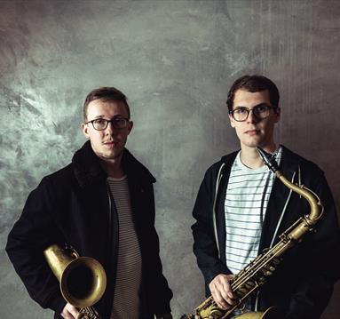 Tom Barford and Alex Hitchcock with instruments
