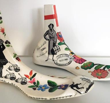 Ceramic feet, decorated