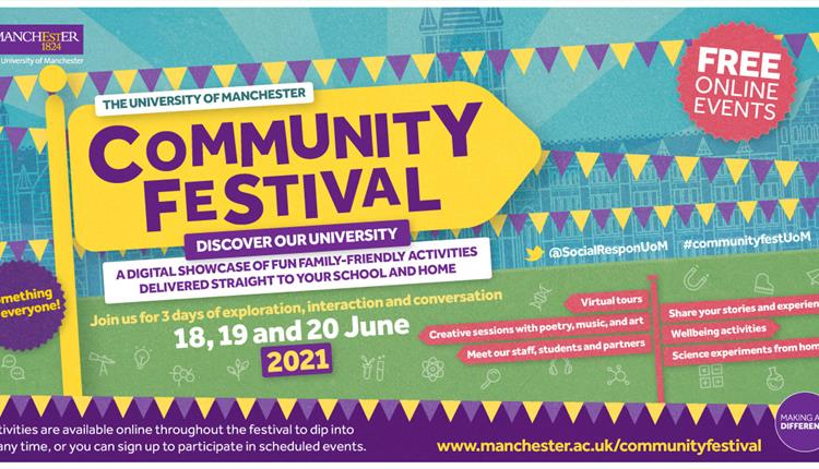 Poster: community festival in yellow and purple