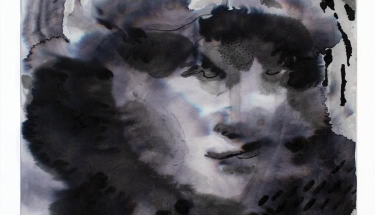 Black and white portrait on a rice paper