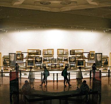 People looking at art in a museum