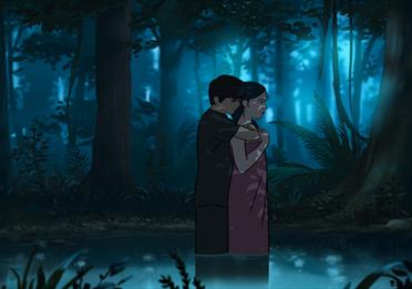 Manchester Animation Festival: boy and girl standing in a lake- cartoon style