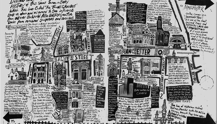 Black and white drawing: text mixed with graphics