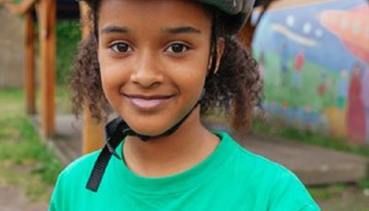 Girl with a helmet
