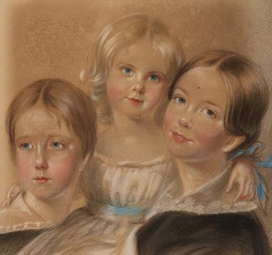 Pastel drawing of 3 girls