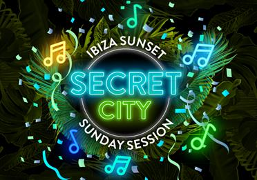Poster with neon letters: Ibiza Sunset, Secret City