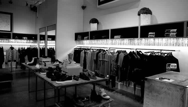 Black and white photo inside the INTRO store.