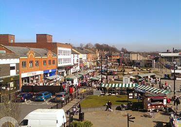 Middleton Market trading on a sunny day.