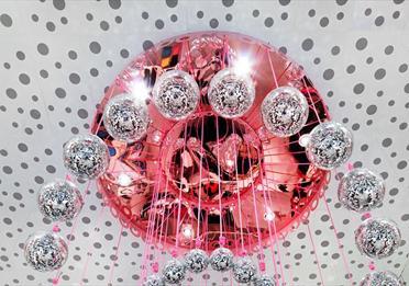 The hanging glitter balls inside Monki