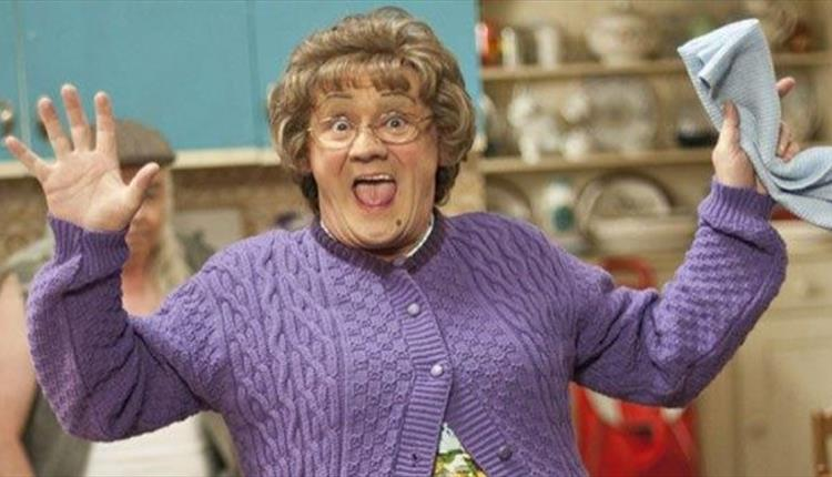 Mrs. Brown character in purple jumper