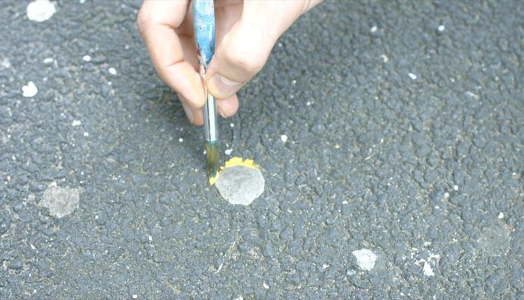 Blob of chewing gum on a road