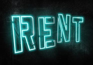 Illuminated text: RENT