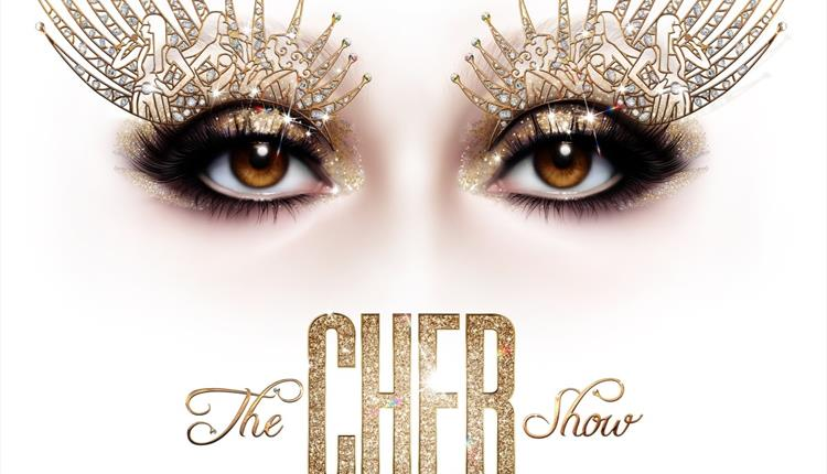 White poster: The Cher Show with big eyes
