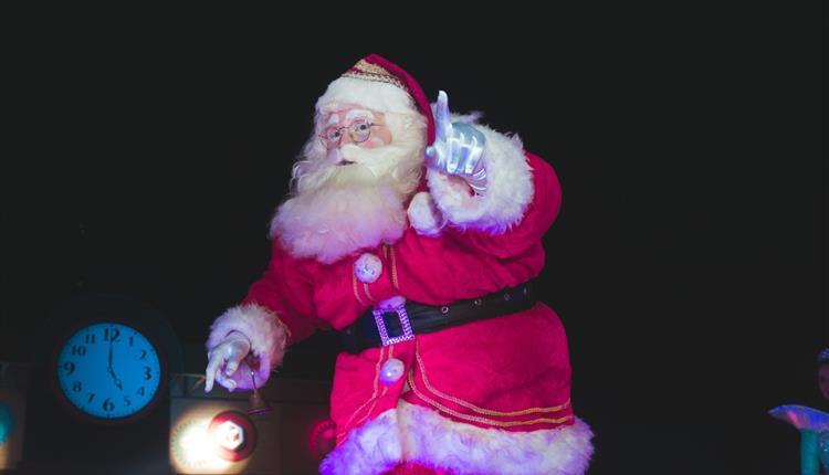 Santa in black background