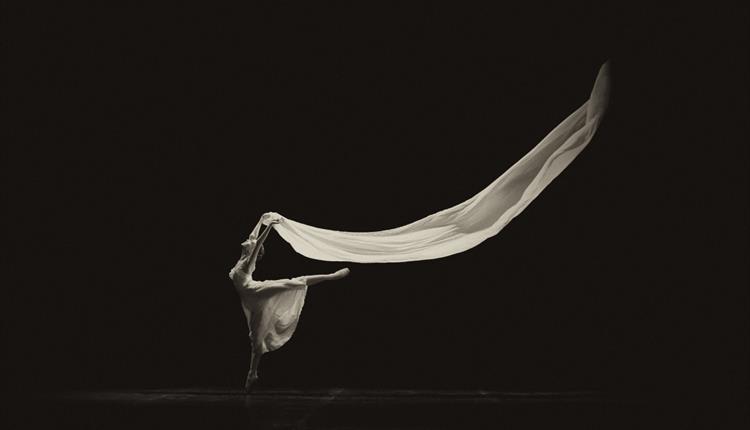 Black and white image: ballet dancer