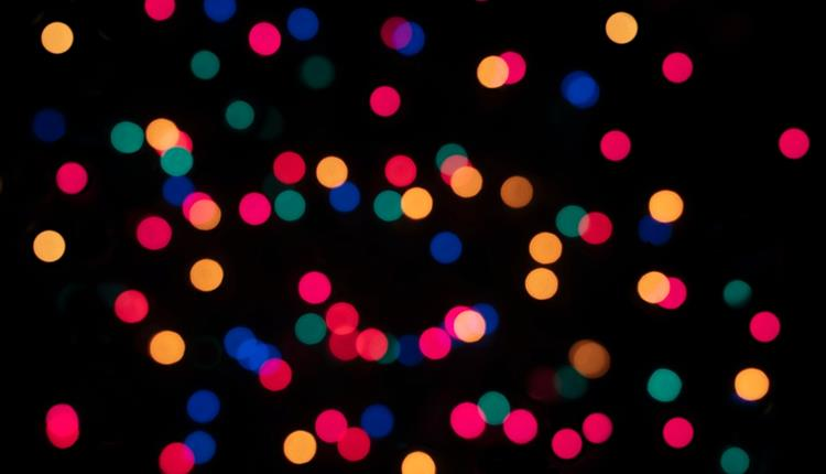 Christmas lights, black background