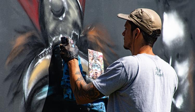 Graffiti artist drawing on a wall
