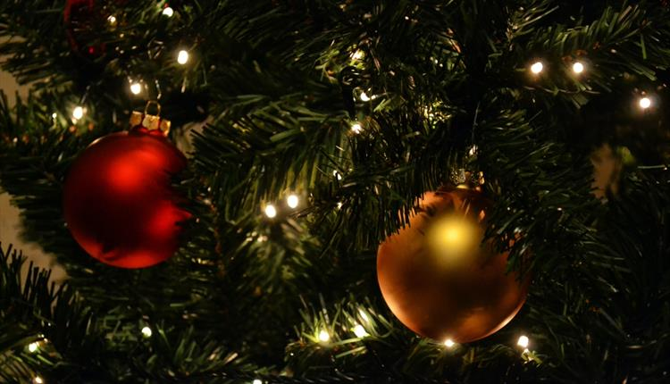 Gold and Red Bauble on Christmas Tree