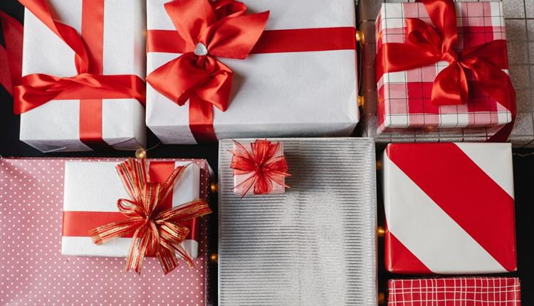 Gifts with red ribbon