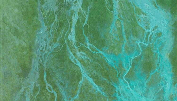 Blue and Green Color Abstract Painting