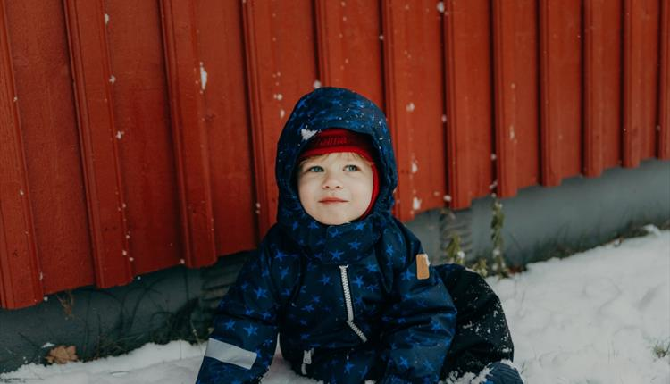 Young child in winter clothes