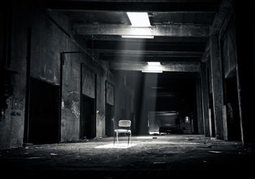 Grayscale Photo of Chair Inside the Establishment