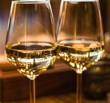 Two white wine glasses
