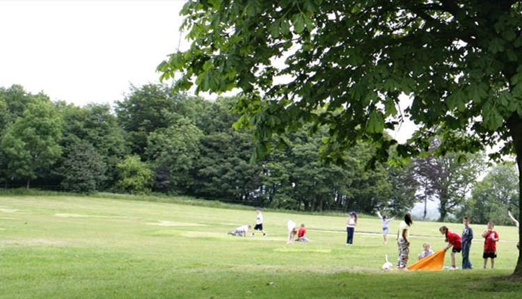 Families playing at Falinge Park.