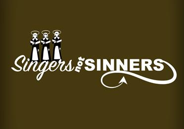 Animated wording for Singers not Sinners showing angels and devils tail