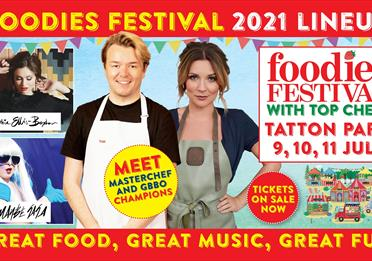 Foodies festival poster in red and yellow