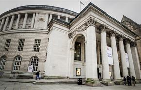 Central Library shown from the front including the main Portico pillars.