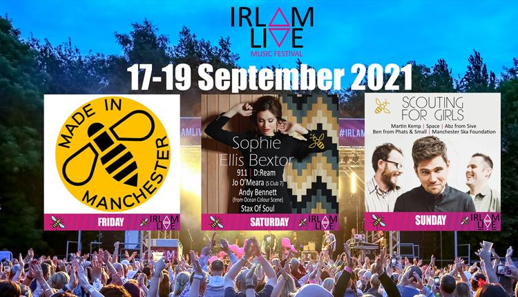 Irlam Live 2021 poster with collage of images