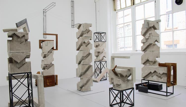 Sculptures displayed at Brutal exhibition