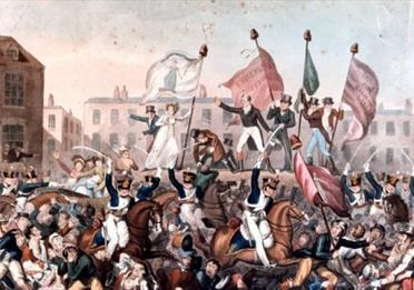A coloured print of the Peterloo Massacre