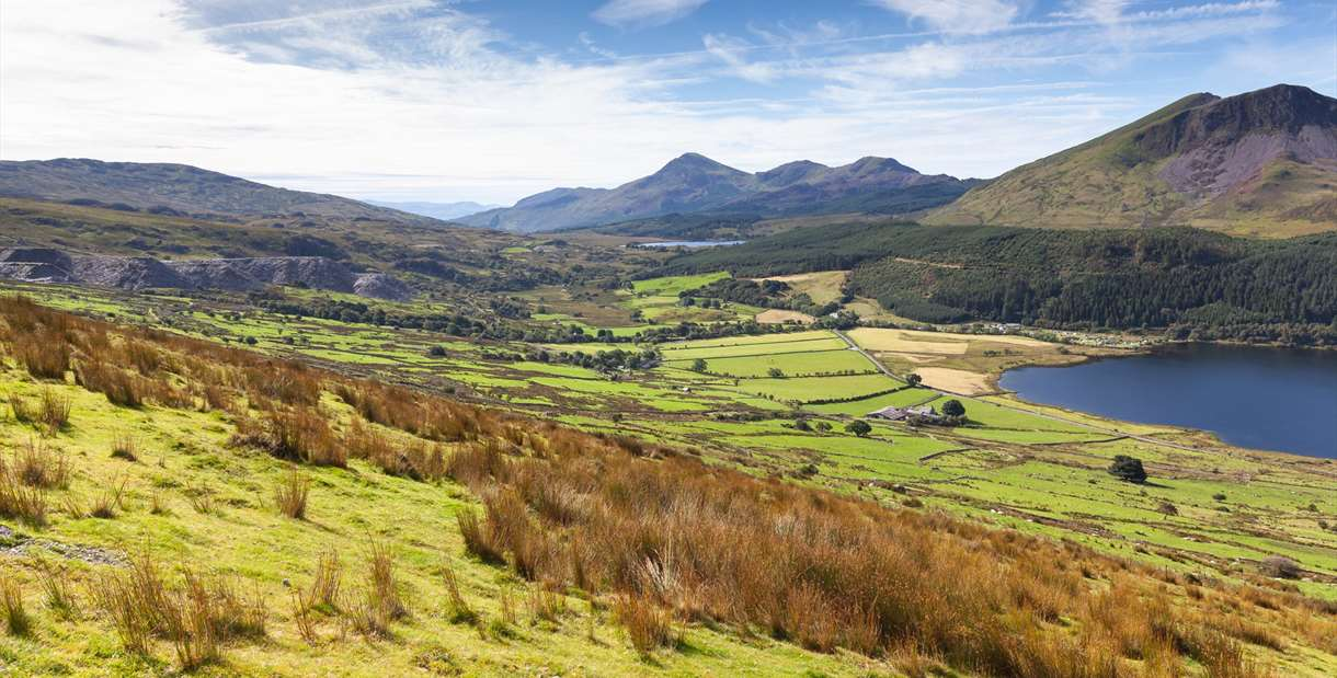 Wales countryside overlooking Snowdon