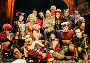 The Rocky Horror Show cast on stage