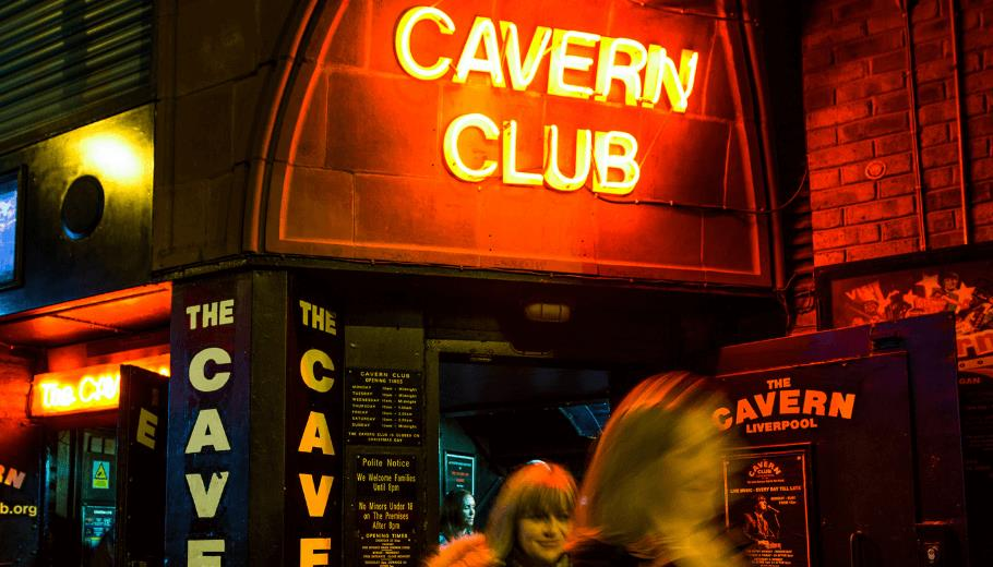 Exterior neon lights reading 'Cavern Club'