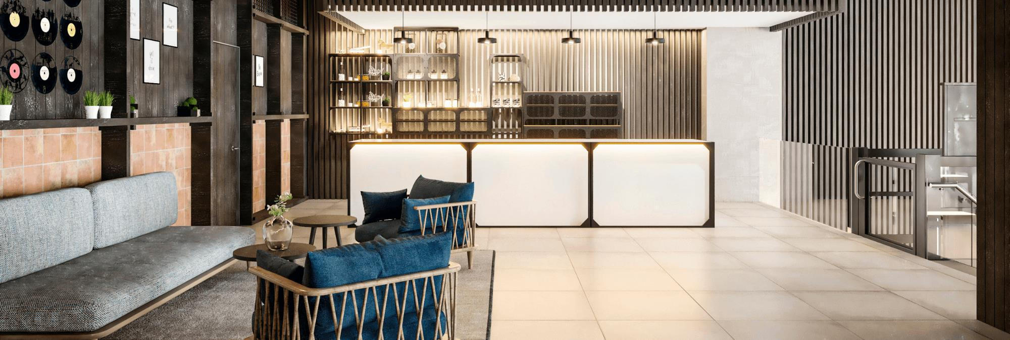 The reception area of innside by Melia.